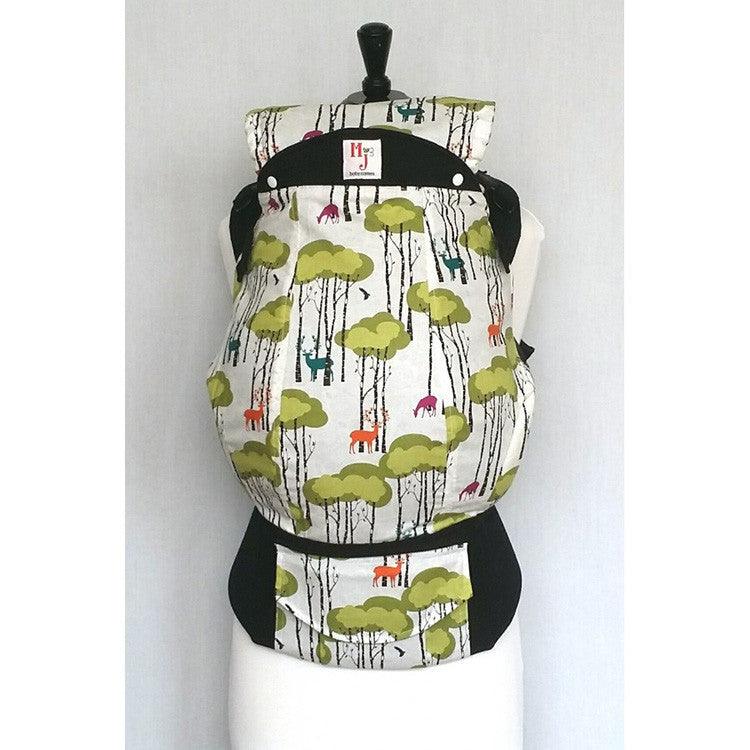 Buckle Carrier - MJ Baby Carriers- Oh Deer (Black Canvas)