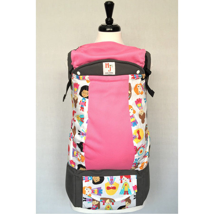 Buckle Carrier - MJ Baby Carriers- Super Girls On Pink Fresh Mesh