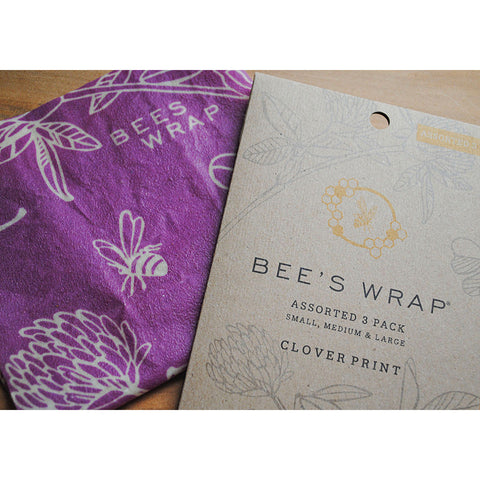 Bee's Wrap Assorted Set of 3 Sizes (S, M, L)- Clover Print