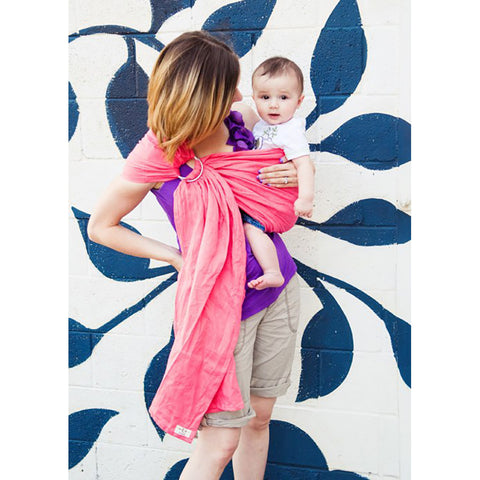 Comfy Joey Ring Sling- Barbados (Grapefruit-Pink Linen)