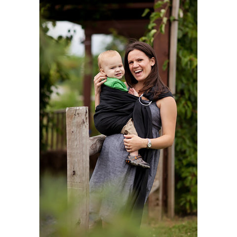 Comfy Joey Ring Sling- Cacao Beach (Black-Sea Linen)