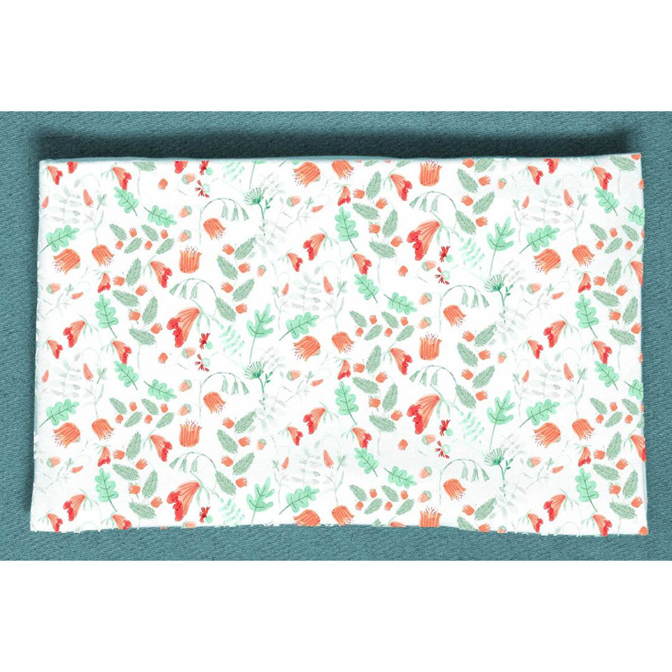 Blush & Blue Large Swaddle Blanket- Coral Fairy Flowers