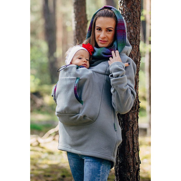 Lenny Lamb Fleece Babywearing Sweatshirt 2.0- Gray with Little Herringbone Impression Dark
