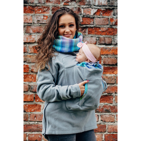 Lenny Lamb Fleece Babywearing Sweatshirt 2.0- Gray with Little Herringbone Petrea