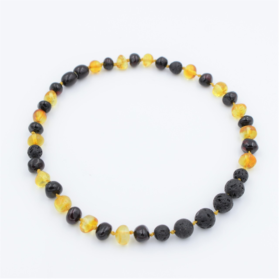 Lemon Vines Amber Aromatherapy Children's Necklace- Polished Honey and Dark Cherry