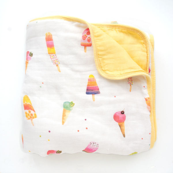 LouLou LOLLIPOP Bamboo Muslin Quilt Blanket- Ice Cream