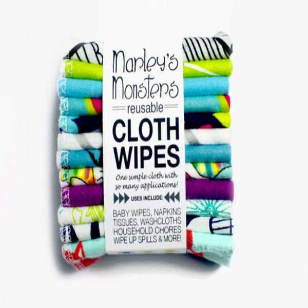 Marley's Monsters CLOTH WIPES in flannel prints- 12-pack