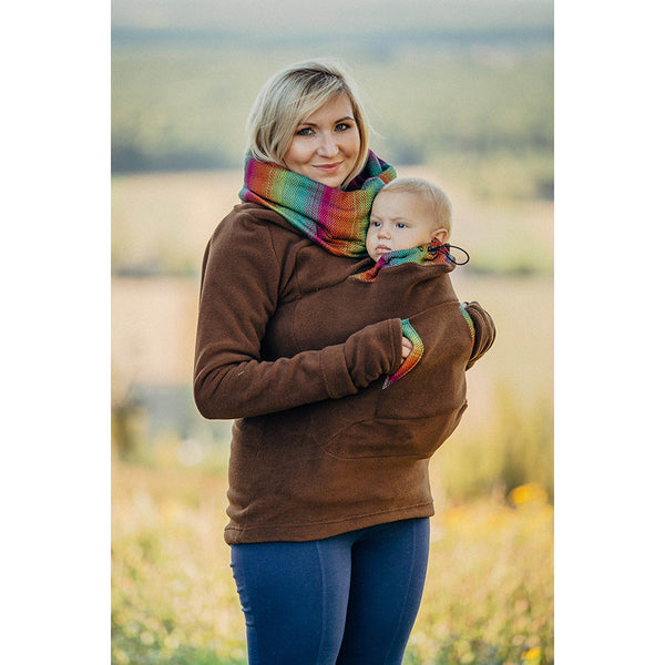 Lenny Lamb Fleece Babywearing Sweatshirt- Brown With Little Herringbone Imagination Dark