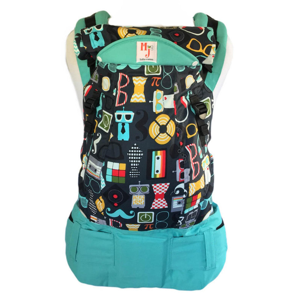 MJ Baby Carriers- Nerd on Aqua Canvas