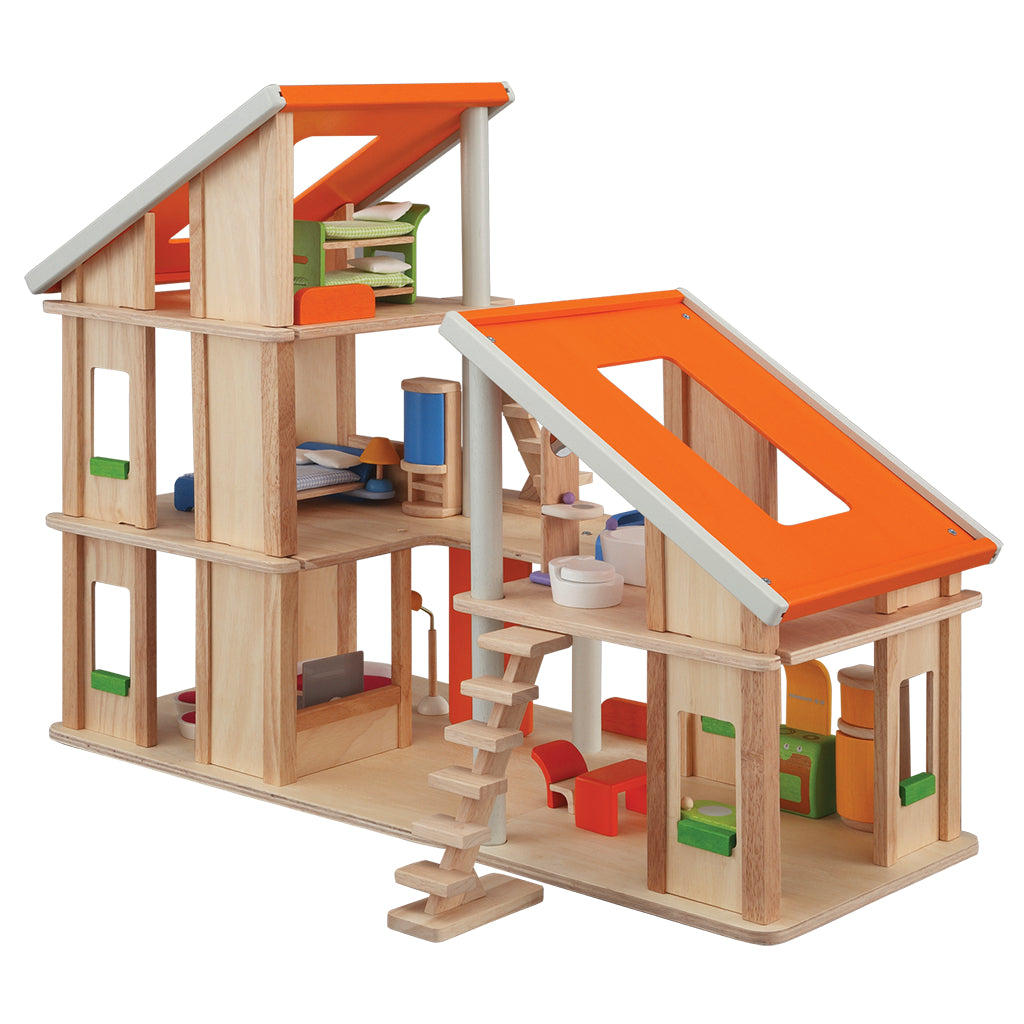 plan toys chalet dollhouse, chalet dollhouse with furniture