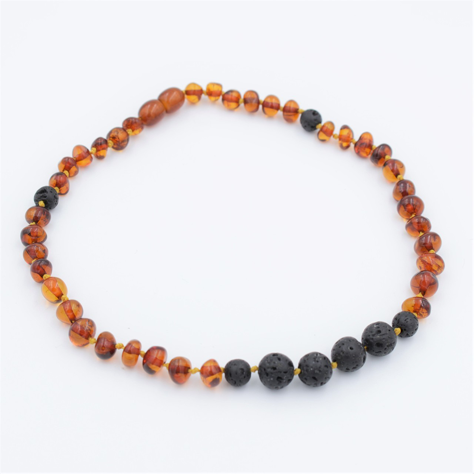 Lemon Vines Amber Aromatherapy Children's Necklace- Polished Cognac