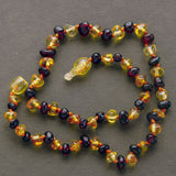 Lemon Vines Amber Children's Necklace- Polished Honey and Dark Cherry