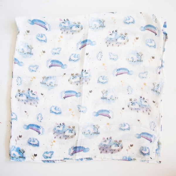 LouLou LOLLIPOP Bamboo Muslin Swaddle Blanket- Unicorn Garden