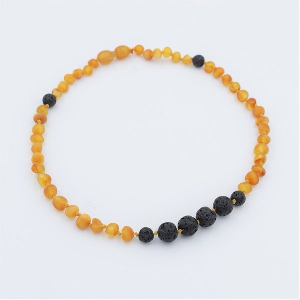 Lemon Vines Amber Aromatherapy Children's Necklace- Unpolished Honey