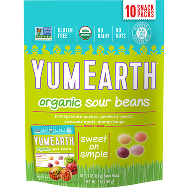 YumEarth Easter Sour Beans- 7 oz (10 x .7 oz snack packs)