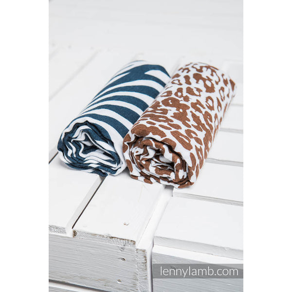 Lenny Lamb Swaddle Wraps- Zebra Navy Blue and White, Cheetah Brown and White- Set of 2