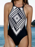 SEXY BLACK WHITE GEOMETRIC  ONE PIECE SWIMWEAR