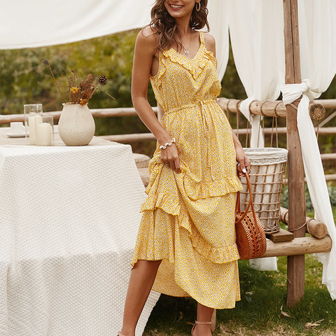 2020 Strap V-neck sexy skirt Dots two-layer ripple design dress yellow