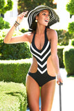 HOT BLACK WHITE STRIPE ONE PIECE BIKINIS