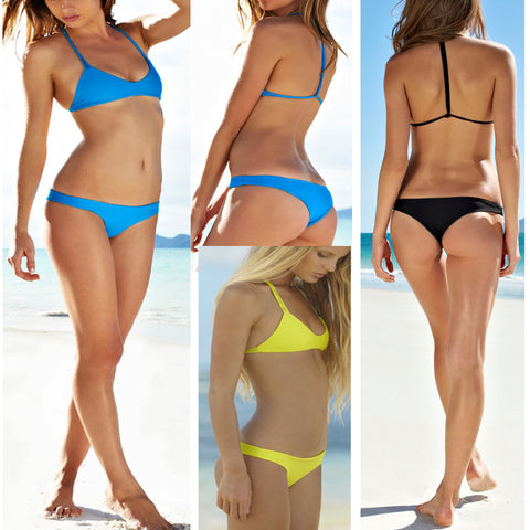 CUTE PURE COLOR SIMPLE TWO PIECE BIKINI