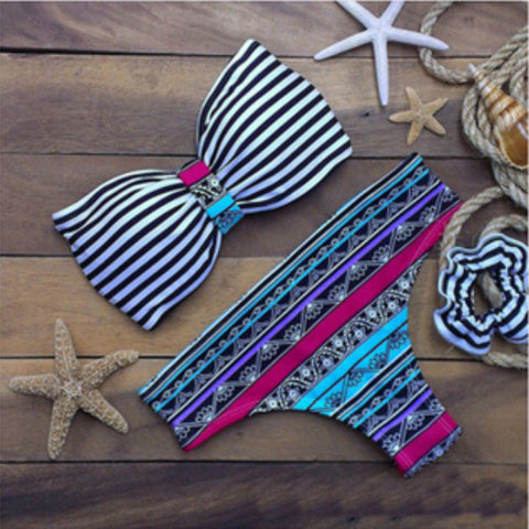 HOT TWO PIECE STRAPLESS COLORFUL BIKINIS