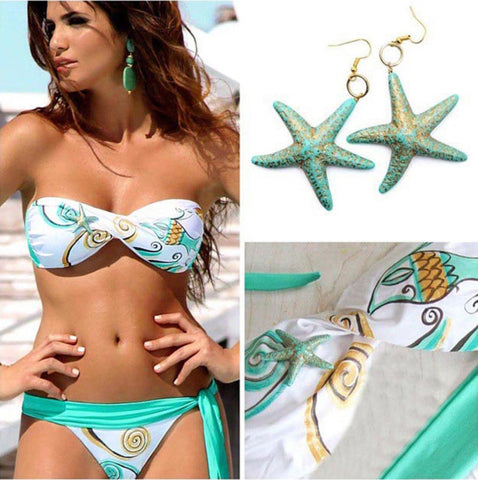 HOT PRINT TWO PIECE GREEN BIKINIS