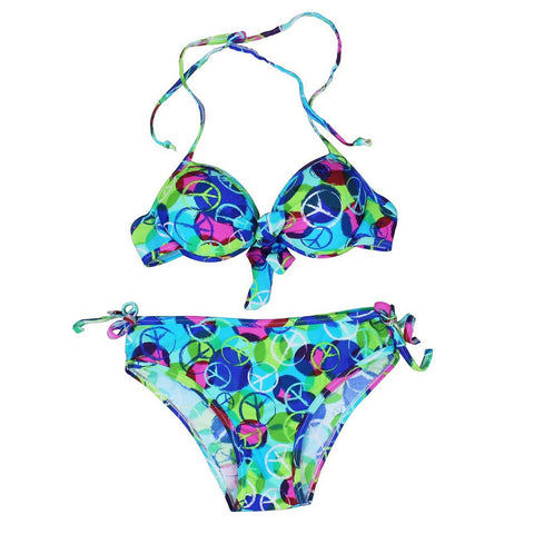 CUTE TWO PIECE GREEN KNOT PRINT BIKINIS