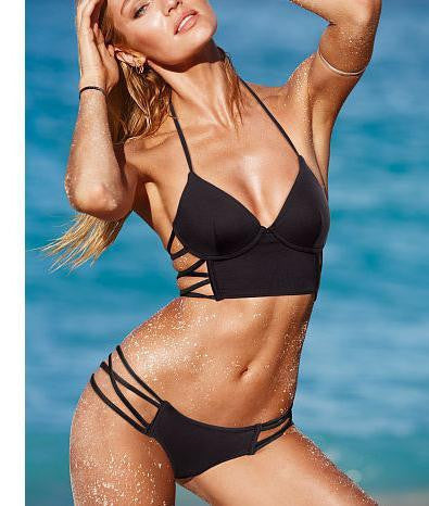 SEXY TWO STYLE HOLLOW OUT BLACK V BIKINI