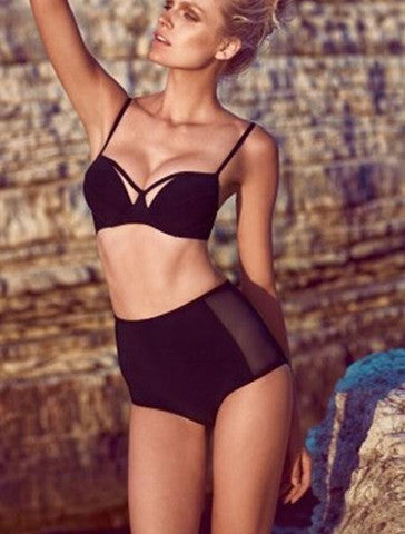 HOT SEXY GATHERING CHEST HIGH WAIST GAUZE BIKINI