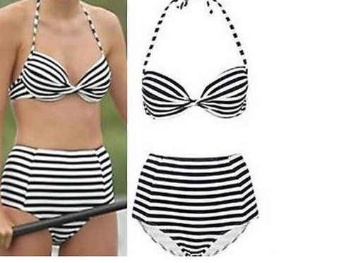 FASHION BLACK AND WHITE STRIPE TWO PIECE  BIKINI