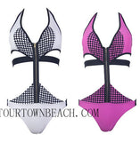 SEXY BRACES NECK NET ONE PIECE BIKINI