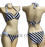 CUTE WHITE AND BLACK STRIPE BRACES NECK BIKINI
