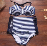 SEXY WHITE AND BLACK STRIPE HIGH WAIST INTERVAL  HOLLOW OUT BIKINI