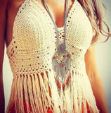 Sexy beach fringed hand hook bra wrapped chest TOP