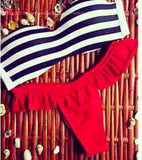 HOT STRIPE RED TWO PIECE BIKINIS