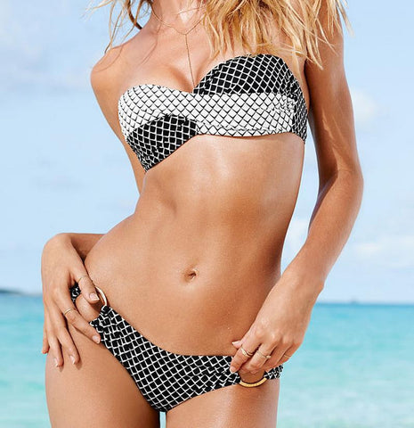 BLACK WHITE TWO PIECE TWIST BIKINI