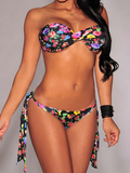 SEXY COLORFUL TWO PIECE BOW TWIST BIKINIS