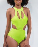 Unique fluorescent green bright look hollow out one-piece swimsuit bikini