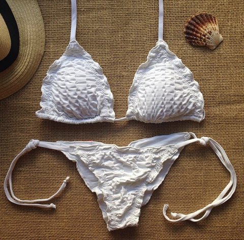 WHITE TWO PIECE  PLEATED HOT SEXY BIKINIS