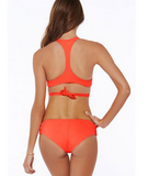 HOT ORANGE CROSS TWIST TWO PIECE BIKINI