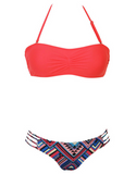 HOT STRAPLESS RED TWO PIECE BIKINIS