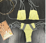 HOT PURE COLOR POLYLINE  YELLOW BIKINIS