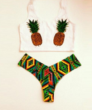 HOT TWO PIECE GREEN PINEAPPLE BIKINI