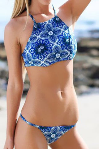 Hot cute blue floral bellyband sexy two piece bikini