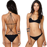 HOT CUTE POLYLINE HOLLOW NET HOT ONE PIECE BIKINI