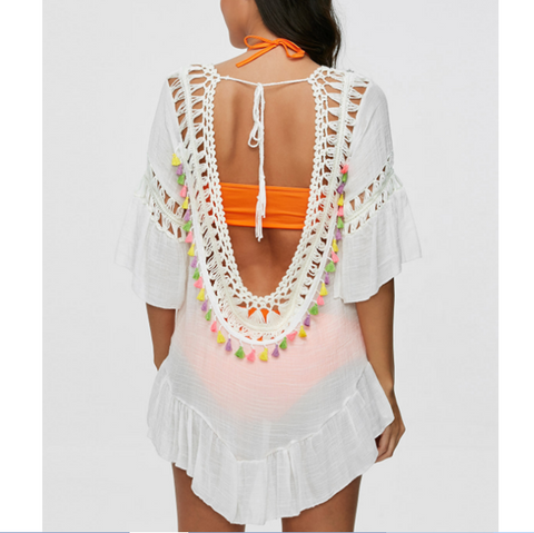 Summer fashion beach white lace Sunscreen smock dress