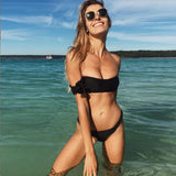 The new pink bikini Cross strap bathing suit Plain black color TWO PIECE BIKINI