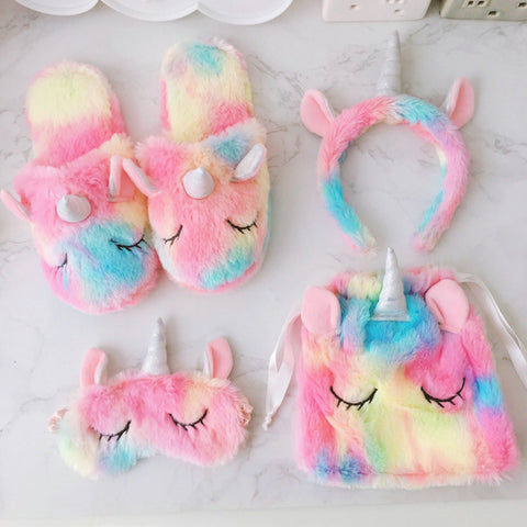 2020 new unicorn doll slippers  plush home  casual shoes tie dye colorful pink