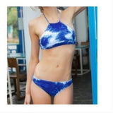 CUTE ABSTRACT BLUE HOT BELLYBAND TWO PIECE BIKINIS
