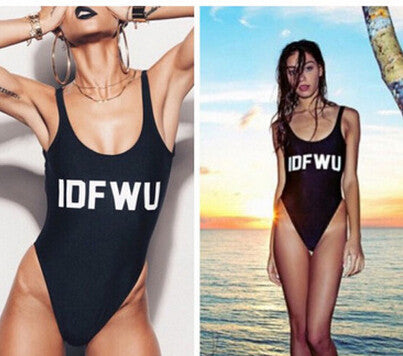 HOT FASHION BLACK LETTERS ONE PIECE BIKINI